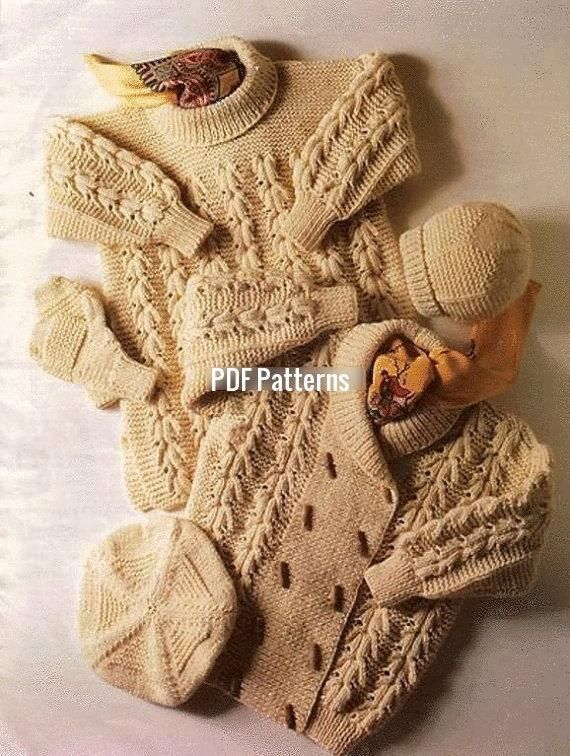 'Knitting : Aran Jacket Sweater Hat Knitting Pattern