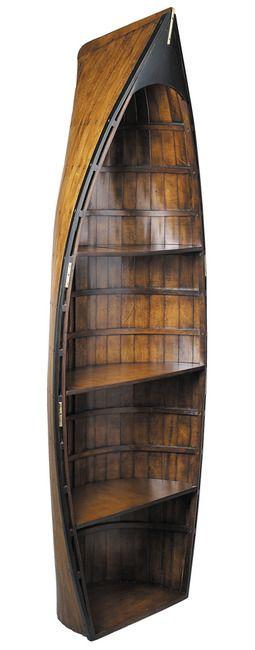 CaptJimsCargo - Bosun's Gig Wooden Rowing Boat Bookcase Shelf Authentic Models, (http://www.captjimscargo.com/authentic-models-home-decor/nautical-bookcases-cabinets-trunks/bosuns-gig-wooden-rowing-boat-bookcase-shelf-authentic-models/)