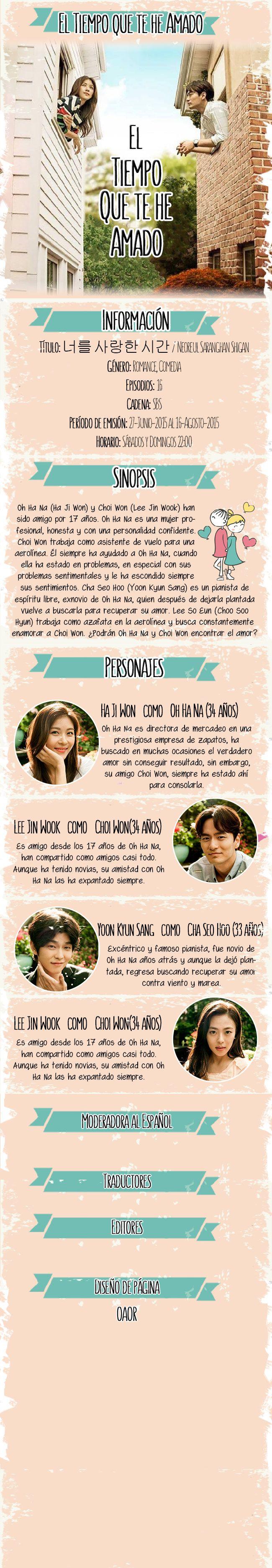 El Tiempo que te he amado Oh Ha Na (Ha Ji Won) y Choi Won (Lee Jin Wook) han sido amigo por 17 años. Oh Ha Na es una mujer profesional, honesta y con una personalidad confidente. Choi Won trabaja como asistente de vuelo para una aerolínea. ¿Podrán Oh Ha Na y Choi Won encontrar el amor?