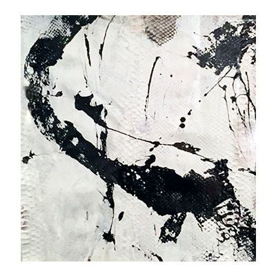 """""""Abstract Study II"""", mixed media abstract painting on matte natural python skin by New York City artist Jake Blake.  Blake uses an austere palette of black, white, and grey combining bold brush strokes, heavy layering, and deft, elegant drawing to create depth."""