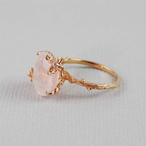 Unique Rose Quartz Ring branch ring nature by 4FireflyCollections