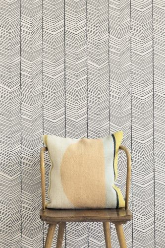 Herringbone Wallpaper and great side chair