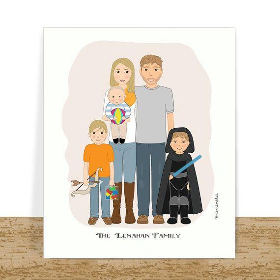 Personalized Family Portrait - Custom Family Art - Printable Cartoon Illustration