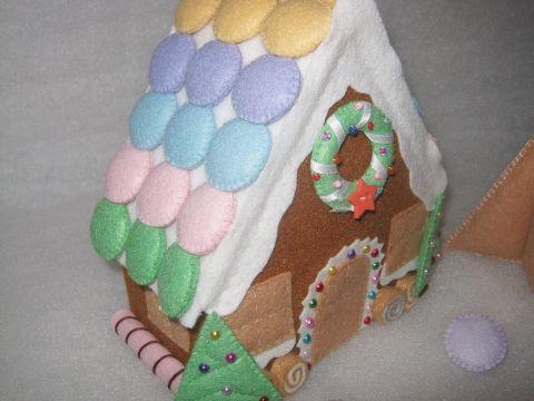 Mézeskalács ház filcből - cukorka színekkel, Otthon, lakberendezés, Dekoráció, Karácsonyi, adventi apróságok, Karácsonyi dekoráció, Meska
