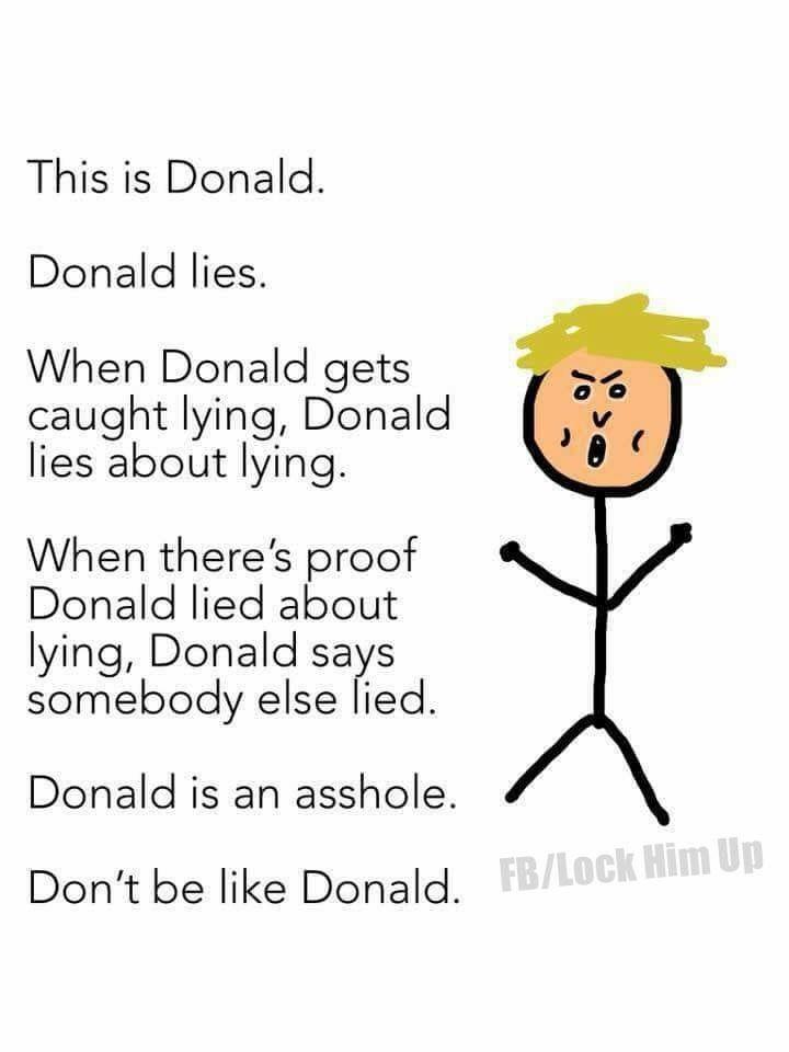 Don't be a Devious Delusional Divisive Deceptive Debauched Dotard Donald.