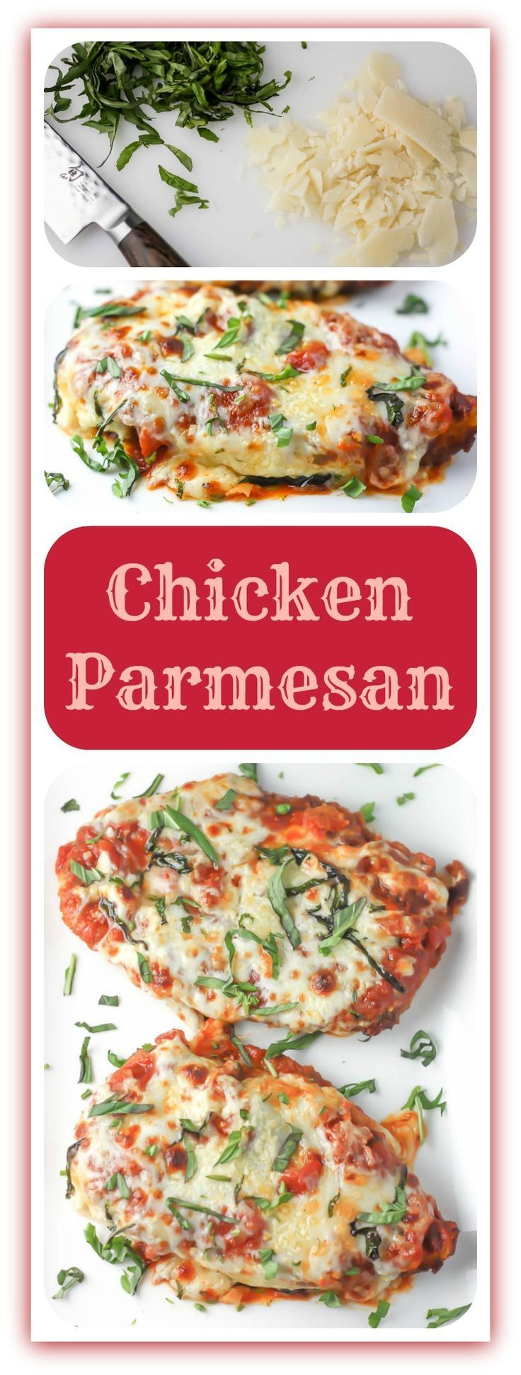 BREADED CHICKEN BREASTS SMOTHERED IN TOMATO SAUCE, PARMESAN AND MOZZARELLA CHEESE, THEN BAKED UNTIL MELTED AND GOLDEN.