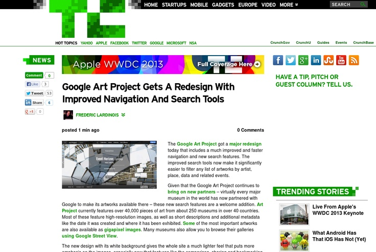 http://techcrunch.com/2013/06/10/google-art-project-gets-a-redesign-with-improved-navigation-and-search-tools/ ...   #Indiegogo #fundraising http://igg.me/at/tn5/