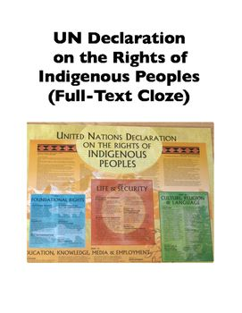 """27 cloze sheets interactively present the full text of the United Nations Declaration on the Rights of Indigenous Peoples in its entirety. The language/meaning focused, """"bite-sized"""" sections of text allow students to work with closely with the content, giving careful attention to the language to find the correct cloze insert from the provided word bank."""