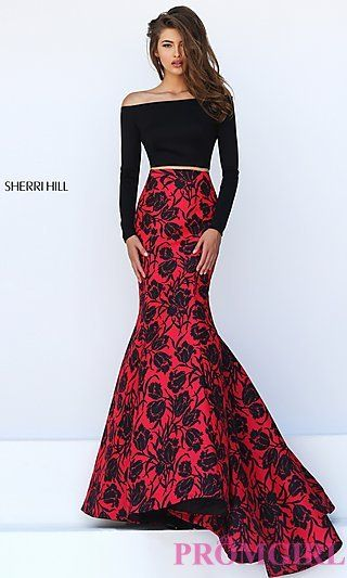 Off The Shoulder Two Piece Long Floral Dress by Sherri Hill at PromGirl.com