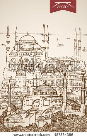 Engraving vintage hand drawn vector of sights and landmarks in Istanbul. Pencil Sketch Blue Mosque, Hagia Sophia sightseeing illustration. Travel Turkey concept.