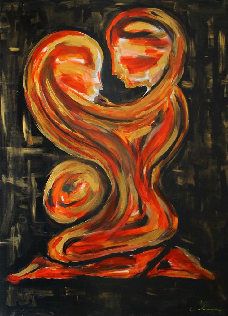 L'ABBRACCIO SALEMME ITALO Acrilico su tela, 50x70 cm, 2014  L'uomo impiega gran parte delle sue energie nella ricerca di nuove attività per ritagliarsi un momento di RELAX dallo stress quotidiano o dai problemi, ma spesso trova soluzioni che non lo soddisfano. Egli dimentica che è nelle cose SEMPLICI che si può trovare la pace e ritagliarsi uno spazio di quiete dal disordine del mondo.