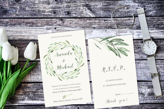Olive Branch Wedding Invitation / Tuscany Watercolor Wedding Invitation / Rustic Wedding Invitation / Printable Invitations  #wedding #wedding invitation #rustic #olives #tuscany