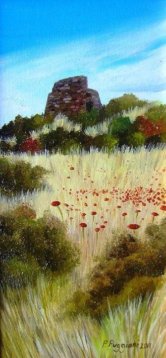 """Summer in Ottana   oil on canvas panel 10"""" x 20"""""""