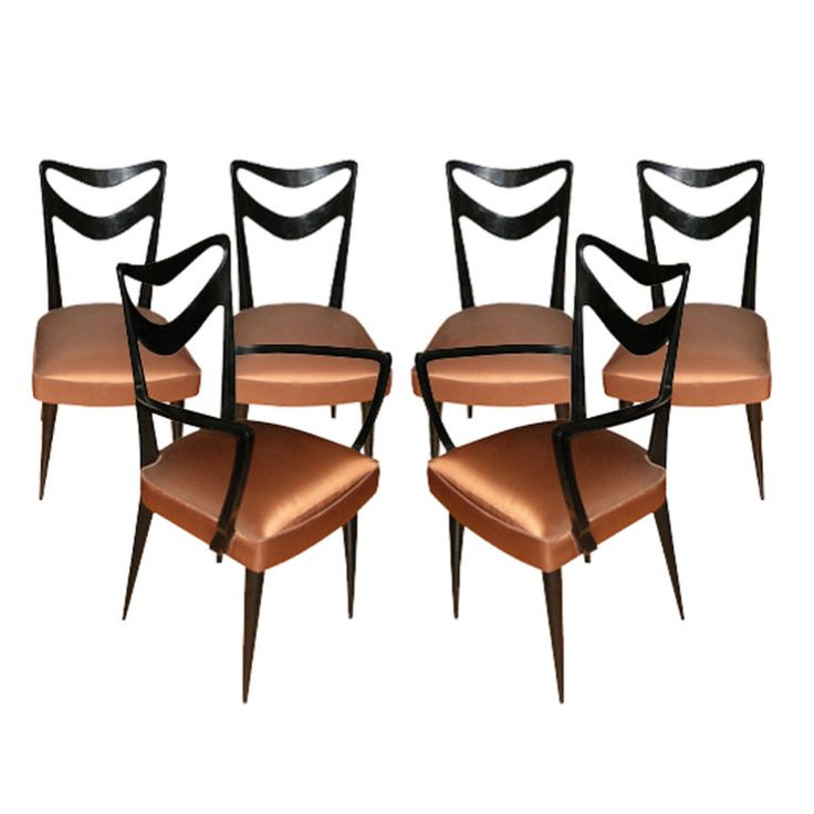 Set of four chairs and two armchairs newly recovered from a unique collection of