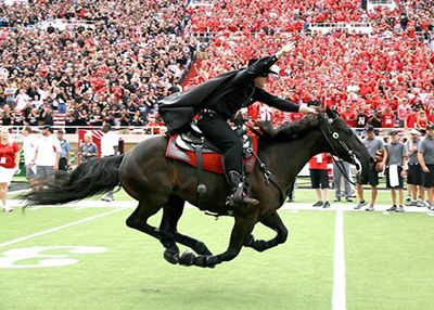"""The Masked Rider on his steed """"Fearless Champion."""" (Texas Tech Athletics)"""