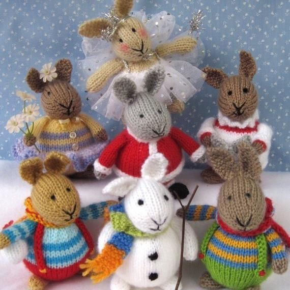 Winter Bunnies Knitting pattern by Dollytime | Knitting Patterns | LoveKnitting