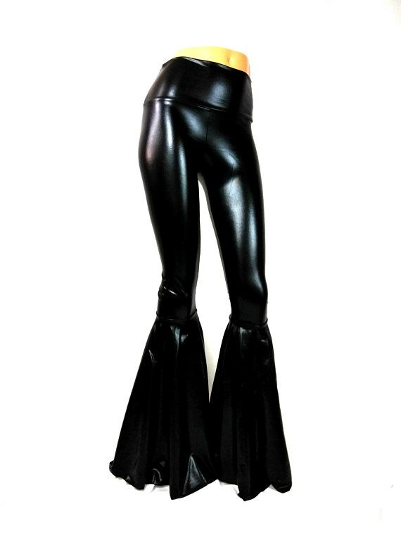 4ea384966 Black Latex look High waist pants Bell Bottom pants Flares Spandex Leggings  festival dance burning man