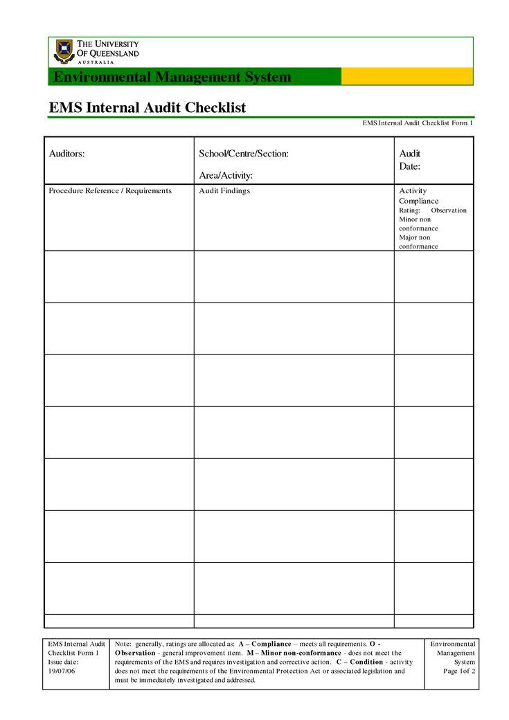 Sample Internal Audit Checklist Courseimage Business - audit findings template