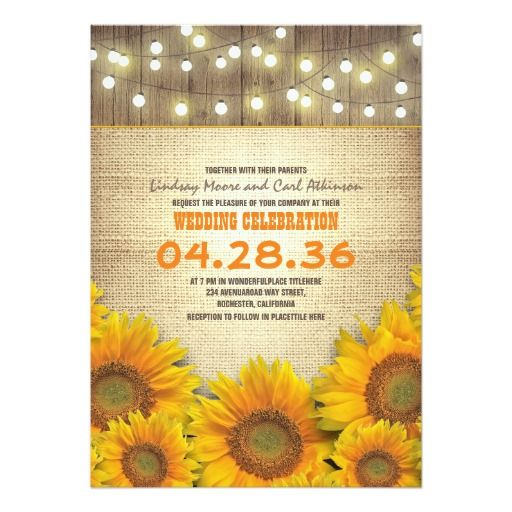 "Sunflowers Rustic Wedding Invitations 5"" X 7"" Invitation Card. Artwork designed by jinaiji."