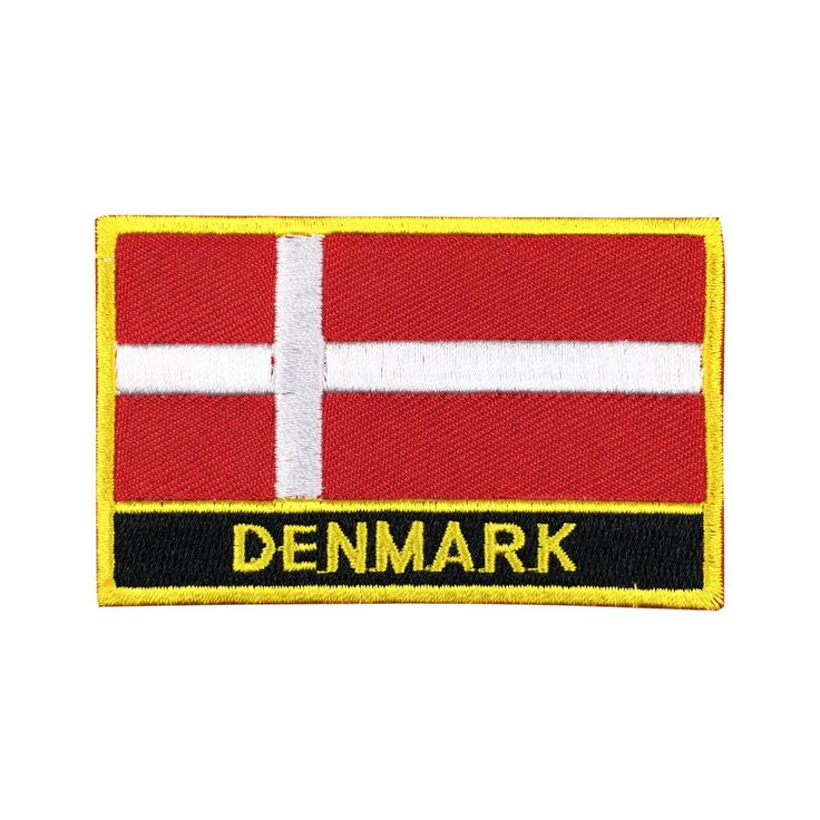 Denmark Flag Patch Embroidered Patch Gold Border Iron On patch Sew on Patch Bag Patch meet you on www.Fleckenworld.com