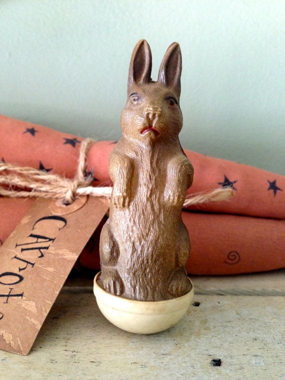 Antique Celluloid Roly Poly Rabbit Easter Toy Excellent Condition