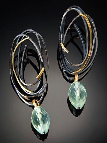 Earrings | Sydney Lynch.  'Scribble'  Sterling (patina), gold, prehnite beads