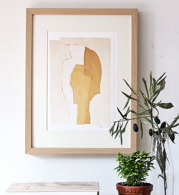 Modern Wall Art Decor, Beige Collage Print, Contemporary Abstract Artwork Gallery