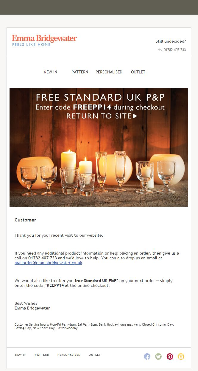 8 best browse abandon emails gifts images on pinterest cart browse abandon email from emma bridgewater with coupon code browse abandonment emailmarketing negle Image collections