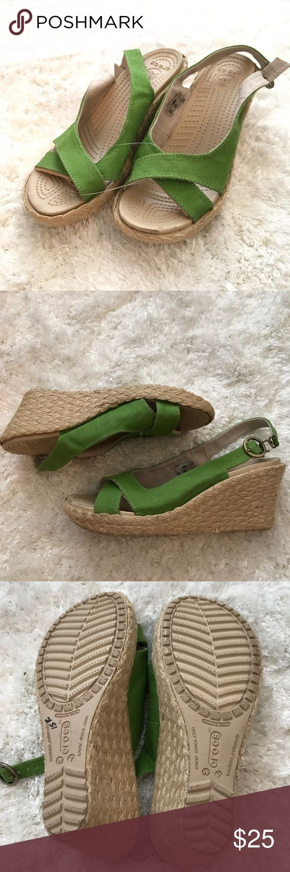 Crocs green espadrille Wedge New without box-small mark( see last photo). Open peep toe. Comfort CROCS Shoes Wedges