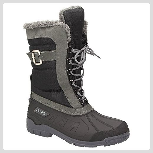 BOWS® -SUSI- Damen Schnee Stiefel Snow Schuhe Winterboots gefüttert wasserdicht wasserabweisend , Schuhgröße:39, Farbe:schwarz - Stiefel für frauen (*Partner-Link)
