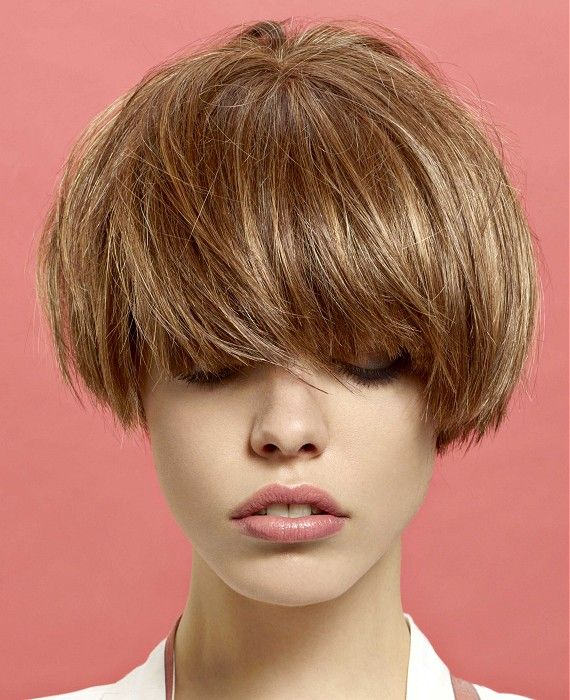 Short Brown straight coloured multi-tonal highlights bob French Womens haircut hairstyles for women