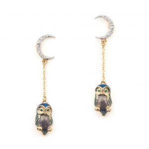 Owl & The Moon Drop Earrings - Blue