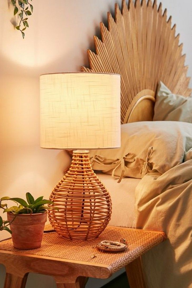 39 Bedroom Lamp Ideas That Will Light Up Your Dreams In 2020 Boho Table Lamps Table Lamp Rattan Table