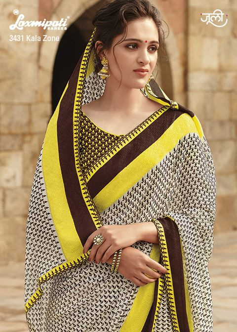 The off white, brown and yellow georgette saree with jacquard patty and contrast blouse will make the worthy attire.