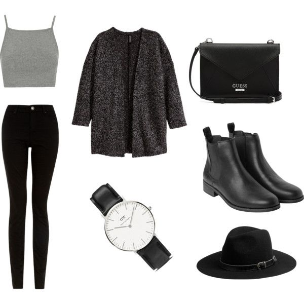 outfit by lara66-1 on Polyvore featuring H&M, Topshop, Monki, GUESS, Daniel Wellington and Michael Stars