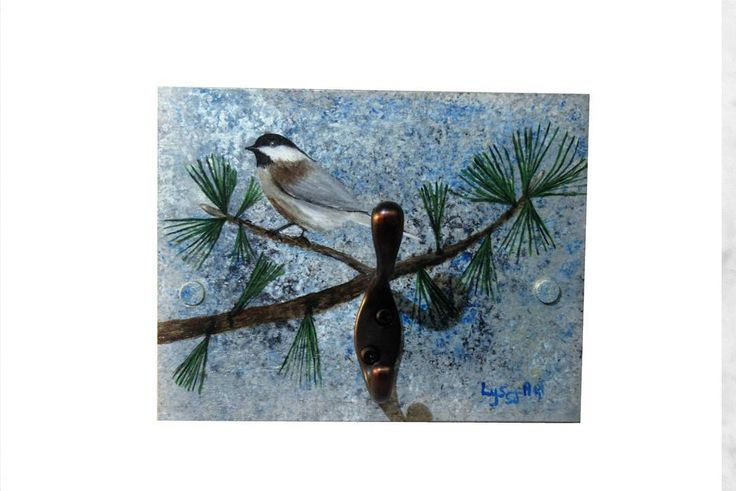 Gift Touch Glam Wall Coat Rack - Wall Hanger Handmade Accessory - Unique Wall Painting Black-Capped Chickadee Bird by Lyssjart on Etsy