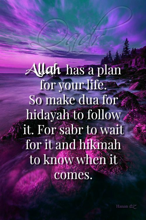 """""""Allah Subhanahu wa Ta'ala has a plan for your life, so make dua for hidayah to follow it, sabr to wait for it, and hikmah to know when it comes."""""""