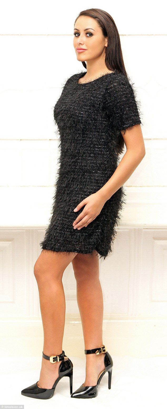 Party time: The Geordie Shore star models a textured, sparkling evening dress...