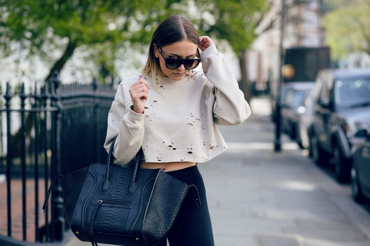Blogger Sarah Ashcroft wearing destroyed cropped nude sweater by Cats got the cream