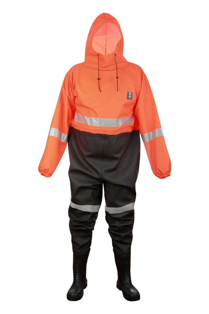 WATERPROOF OVERALL FOR DRAINING CANAL'S WORKER WITH PVC SAFETY BOOTS S5 TYPE Model: 304/K The model is made of 2 kinds of PVC/polyester fabric: upper part is made on Plavitex and legs are made on Plavitex Heavy Duty. The overall is fastened on the back with waterproof zip and with hood. The PVC safety boots S5 type (steel toe cap and steel midsole) have been welded to overall. The product is recommended for people working in draining canals.