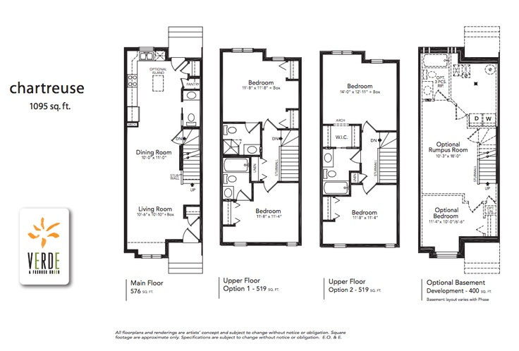 'Chartreuse' floorplan model at Verde in Clearview. 1095 sq.ft.    - Optional lower level development adds 400 square feet.  - 2 large bedrooms each with en-suite or 2 large bedrooms, 1 with walk-in closet and cheater en-suite.  - The ultimate in open concept design with a large L-shaped kitchen open to the dining and living rooms.