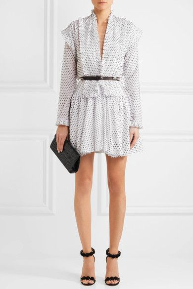 Alaïa - Ruffled Swiss-dot Cotton Mini Dress - White - FR42