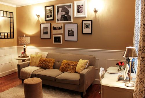 living room inspiration...photo collage and sconces