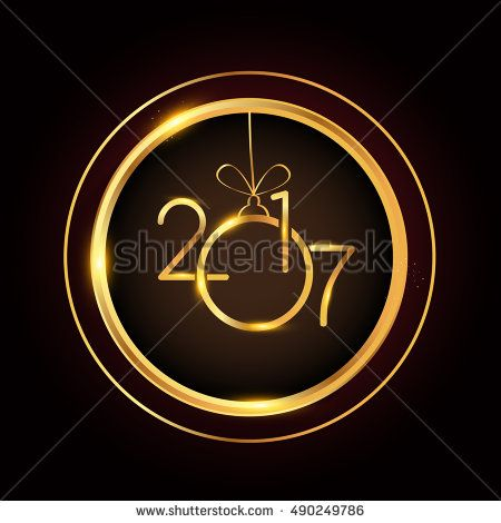 Vector 2017 Happy New Year background with gold ring