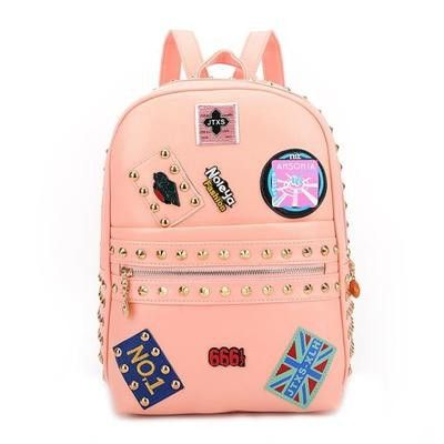 Unique Trendy Rivet Badge Women's Leather Backpack Teenagers Ladies Casual Travel