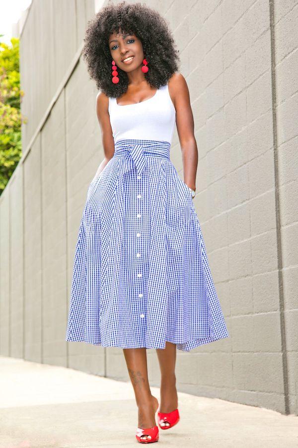 Style Pantry   White Bodysuit + Gingham Midi Skirt