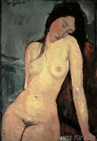 Amedeo Modigliani - Sitzender weiblicher Akt (48,0 x 70,0 cm)