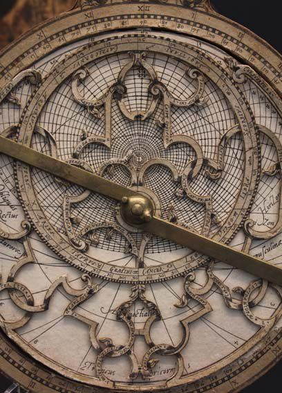 "An astrolabe (Greek: ἀστρολάβος astrolabos, ""star-taker"")[1] is an elaborate inclinometer, historically used by astronomers, navigators, and astrologers. Its many uses include locating and predicting the positions of the Sun, Moon, planets, and stars, determining local time given local latitude and vice-versa, surveying, triangulation, and to cast horoscopes."
