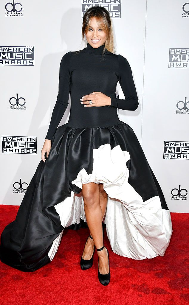 Ciara from AMAs 2016: Worst Dressed Stars  Usually she can do no wrong, but the mom-to-be was trying too may trends at once ( a turtleneck, a drop-waist and a high-low hem).