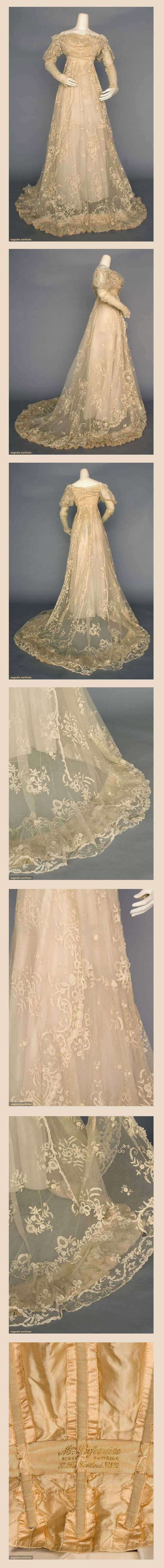 LACE WEDDING GOWN, Paris, circa 1910  Ecru cotton net w/Brussels lace applique, 1-piece, empire, trained skirt, Petersham stamped. Via Augusta Auctions.